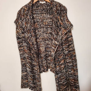 Woven Heart Chunky Knit Soft Open Front Cardigan